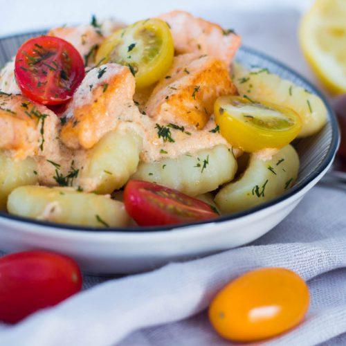 Gnocchi-Lachs Pfanne mit Tomaten06