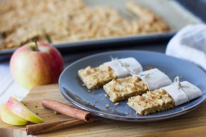 Apfel-Haferflocken Riegel - gesunder Snack