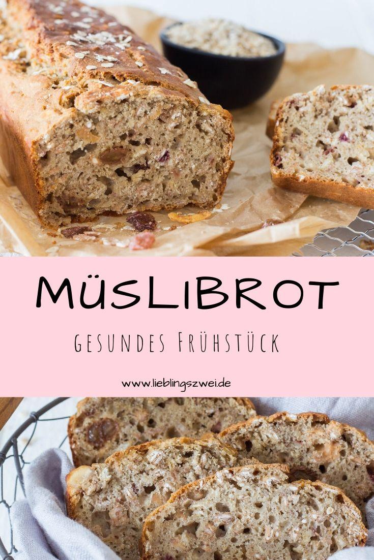 Gesundes, leckeres Frühstück für Kinder und Erwachsene: Müslibrot mit Haferflocken und Trockenfrüchten. www.lieblingszwei.de