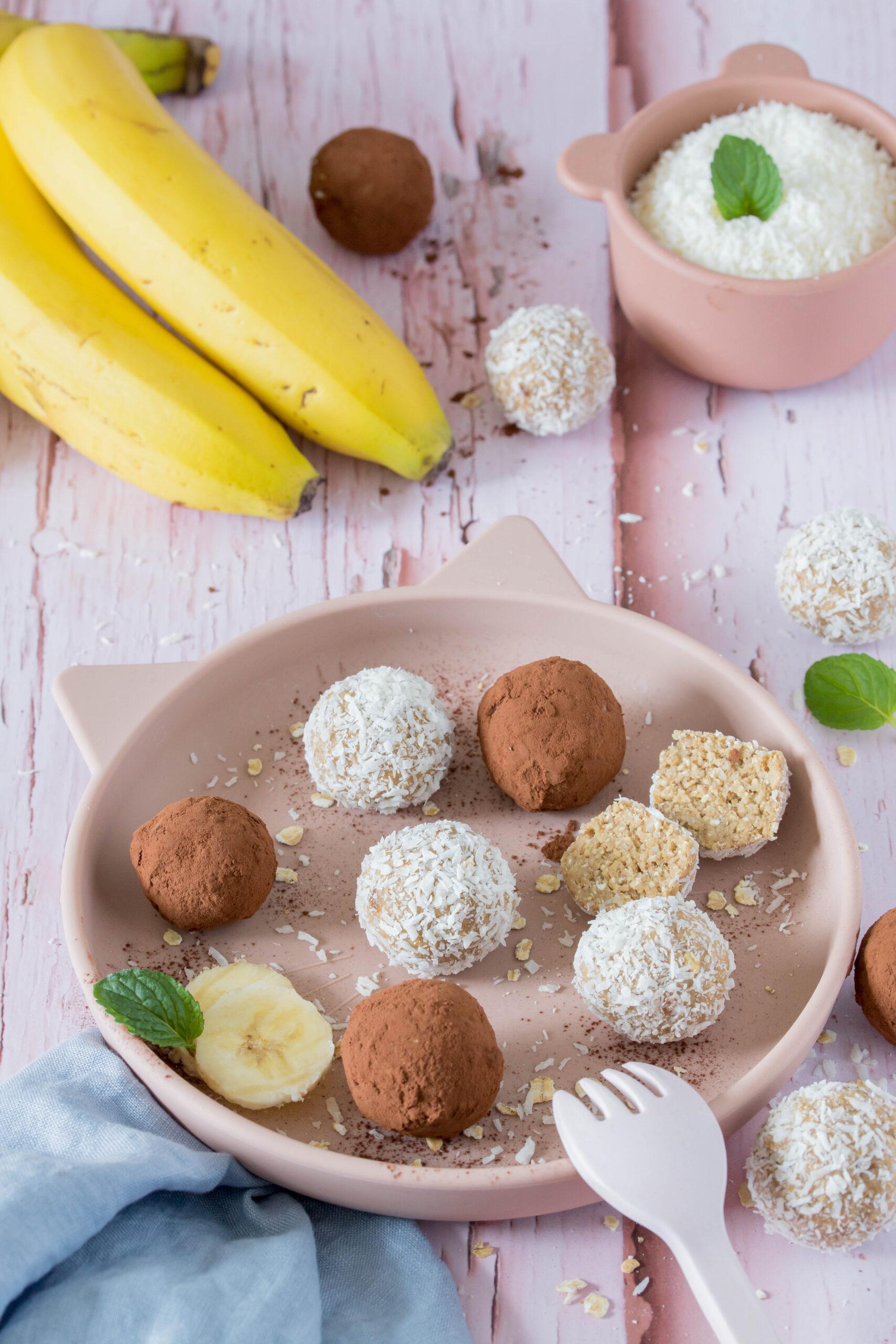 Bananen Energiebällchen - leckerer, gesunder Snack für Kinder. Schnell und einfach zubereitet.