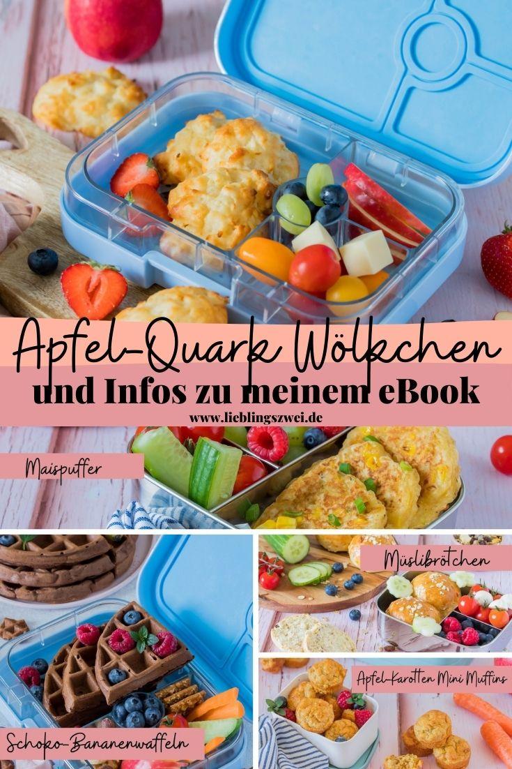 """Apfel-Quark Wölkchen - fluffig weicher Snack für Kinder + erste Infos zu meinem ebook """"Brotdosenrezepte"""""""